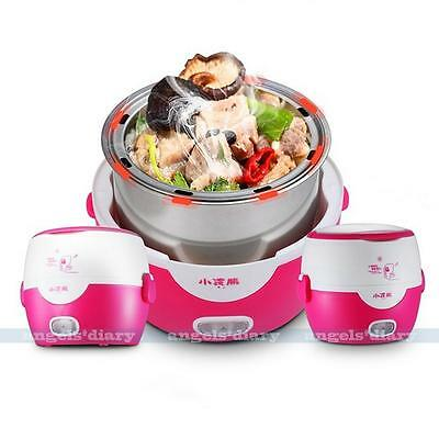Electric Lunch Box New 1.3L Mini Rice Cooker Stainless Steel Steamer Pot Pink
