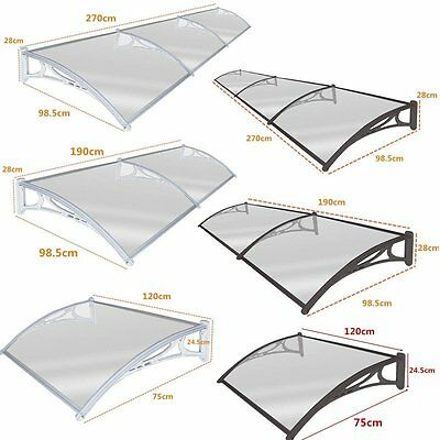 Black/White Door Canopy Awning Shelter Front Back Porch Outdoor Shade Patio Roof