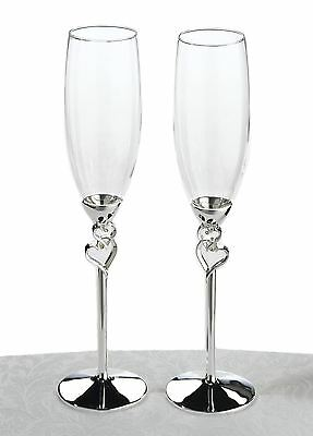 Pair of Heart Toasting Wedding Party Wine Champagne Flutes Glasses