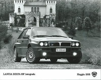 Lancia Delta HF Integrale Front View Action Shot lights on 1993 Press Photograph