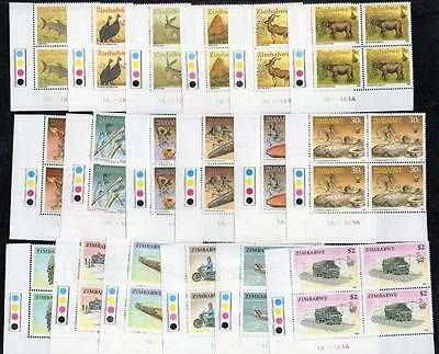 ZIMBABWE MNH 1990 3rd Definitive Set Cyl 1A Blocks of 4