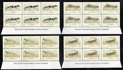 ZIMBABWE MNH 1989 Geckos Imprint Block of 6