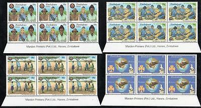 ZIMBABWE MNH 1987 75th Anniversary of the Girl Guides Imprint Block of 6
