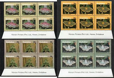 ZIMBABWE MNH 1986 Moths of Zimbabwe Imprint Blocks of 6