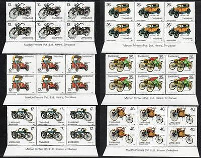 ZIMBABWE MNH 1986 100th Anniversary of Motoring Imprint Blocks of 6