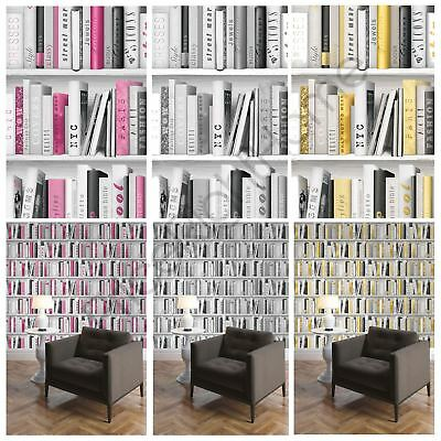 Fashion Library Bookcase Wallpaper Pink Gold Silver Available Feature Wall Decor