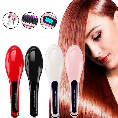 AUTO LCD Electric Hair Straightener Comb Brush Massager Straightening AU Plug