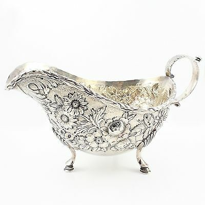 ANTIQUE S KIRK & SON Sterling Silver Gravy Boat Floral REPOUSSE Chased 304g 19C