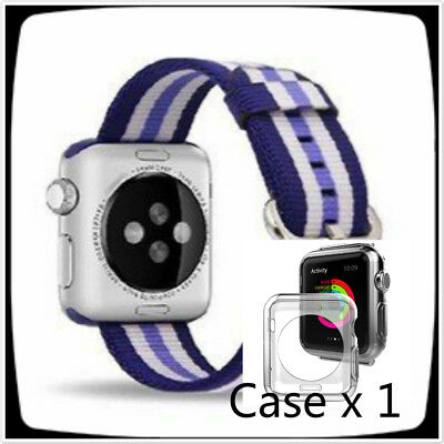 New Stripes Blue Mix Woven Nylon Wrist Band Strap Bracelet For Apple Watch 42mm
