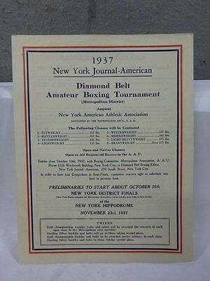 Vintage 1937 New York Journal-American Amateur Boxing Entry Application Form