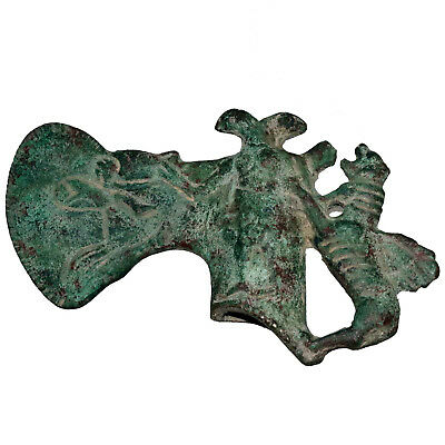 Scarce , Intact Luristan Near Eastern Bronze Ax 1200 Bc , Decorated With Animals