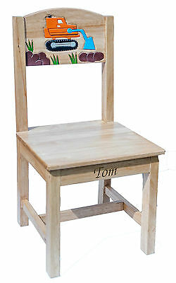 Personalised Childrens Kids Wooden Chair Seat, Engraved With Any Name