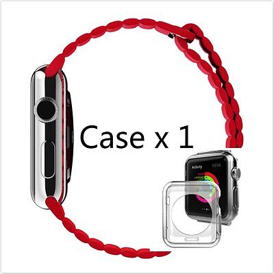 Red Loop Leather Watch band strap Magnetic Buckle for Apple Watch 42mm