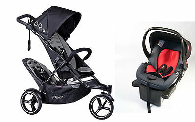 Phil & Teds 2016 Dot V3 Stroller & Double Kit Graphite With Free Alpha Car Seat!