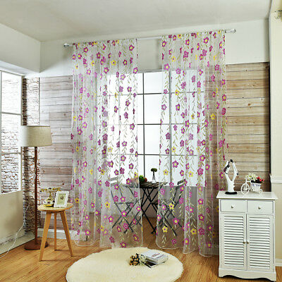 Floral Leaf Sheer Voile Curtain Tulle Drapes Panel For Living Room Window