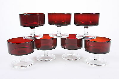 7 Cavalier Tall Sherbets Champagne Stems Cristal D'Arques Red Body Clear Base
