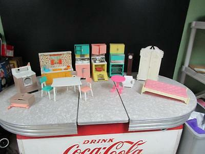 Large Vintage Lot of 1960's Barbie Dream House Kitchen & Furniture