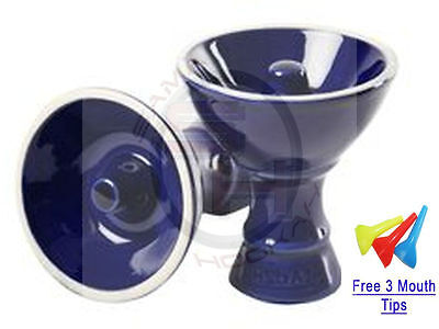 New Large Blue Vortex Ceramic Hookah Head Bowl With Free Grommet and Mouthtips