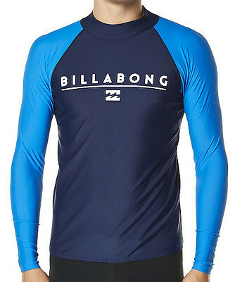 """New +Tag Billabong Mens (Xxl) """"front"""" Wetshirt Rash Vest Relaxed Fit Long Sleeve"""