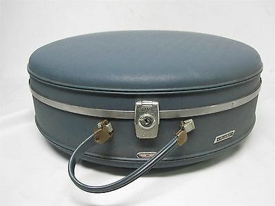 "Vtg American Tourister 20"" Round Blue Tri-Taper Hard Carryon Suitcase"
