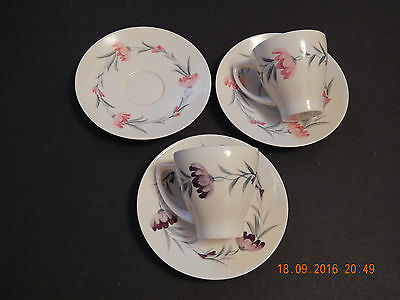 Branksome China Pink & Lilac Floral Cups & Saucers