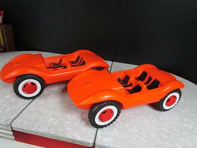 Lot of 2 Vintage 1970's Orange Barbie Car Convertible's - Made in West Germany