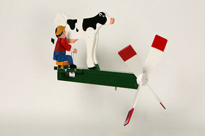 Dairy Farmer Milking the Cow Wooden hand painted Whirligig