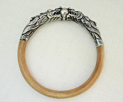 Art Deco Chinese Sterling Silver Rattan Bamboo Bangle Bracelet Dragon Repousse