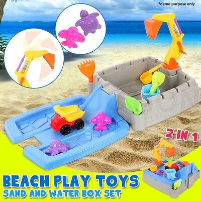 Kids Beach Building Sand Water Play Table Box Sandpit Toys Set Digger Truck Car