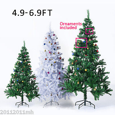 Multsize Christmas Tree Fireproof Leaf Holiday Decoration w/ Stand & Ornaments