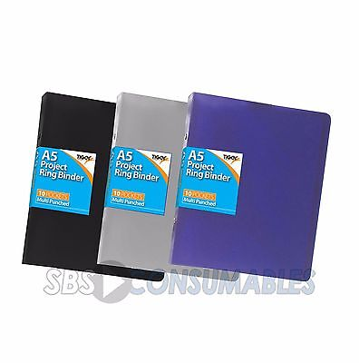 A5 Flexi-cover Ringbinder with 10 free multi-punched pockets. Storage/Portfolio.
