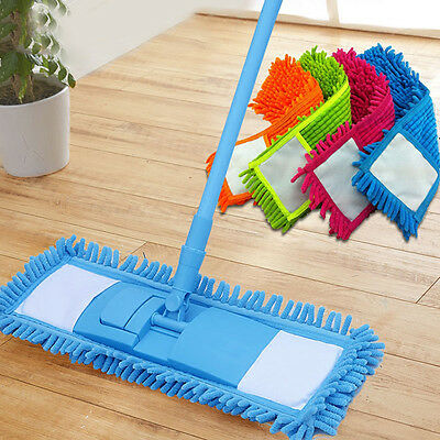 Extendable Microfibre Floor Mop Cleaner Sweeper Head Wet Dry Cleaning 4 Colors