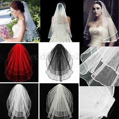 Black Newest 3 Tier Wedding Bridal Elbow Short Length Satin Edge Veil With Comb