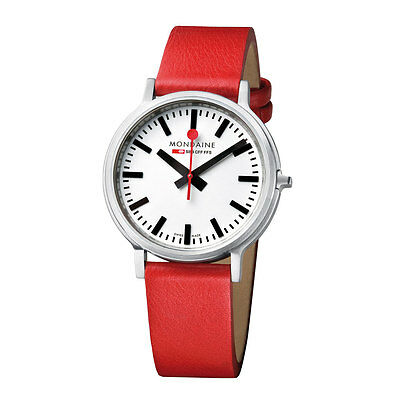 Mondaine Stop 2 Go Men's Watch Red Leather Strap White Dial SALE RRP £450 now350