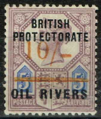 Oil Rivers 1893 10s on 5d SG41 with forged surcharge Cat Value £6,500 as genuine
