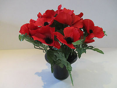 Artificial Poppy Grave Pot with 16 Stems 25cm Tall - Remembrance Tribute Poppies