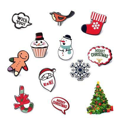 Christmas Cute Santa Snowman Collar Acrylic Cartoon Brooch Pins Jewelry