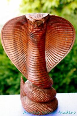 Hooded Cobra Snake Statue Serpent carved wood carving sculpture Bali Art