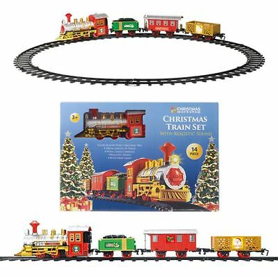 Christmas Train Toy Track Sounds Head Light Festive Decoration Tree Gift Present