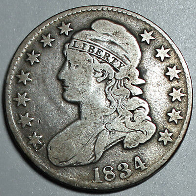 1834 Capped Bust Silver half Dollar 50C - VG Very Good - Large Date, Large lette