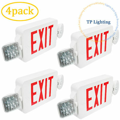 4x LED Red Letter Exit Sign & Emergency Lighting Compact Combo UL 924