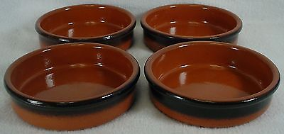 "ARBRESA China TERRA COTTA Dip; Flan; Custard; Brulee; or Coaster 4-3/4"" SET OF 4"