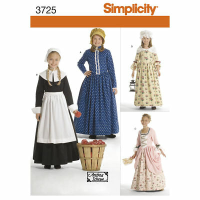 PATTERN toSew Colonial Pilgrim costume dress Simplicity 3725 Patriot Hat sz 3-6