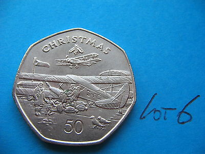 Rare 1985 Isle Of Man 50P Christmas Airplanes  Mint Condition L6