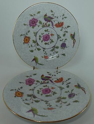 "CROWN STAFFORDSHIRE china BIRD OF PARADISE F8393 SALAD PLATE 8-1/4"" set of TWO"