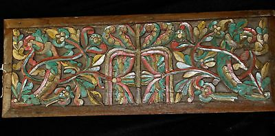 Old architectural Panel  hand carved teak wood antique House Java Indonesia 29""