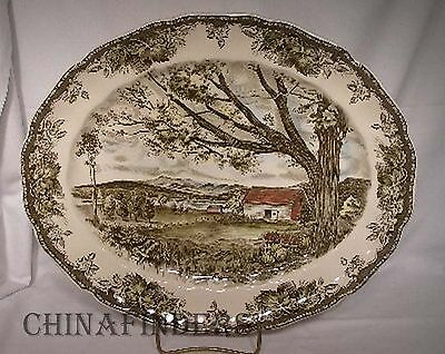 JOHNSON BROTHERS Made in England FRIENDLY VILLAGE Oval Serving Platter @ 13-1/2""
