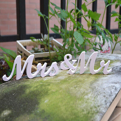 Mr&Mrs Wedding Reception White Wooden Letters Table Stand Centrepiece Decoration