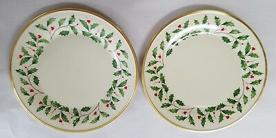 """LENOX china HOLIDAY Dimension pattern Dinner Plates SET OF 2! - 10-3/4"""""""