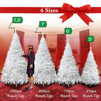 NEW Christmas Tree 5/6/7/7.5FT w Steel Base Decorate Ornament Xmas WHITE NATURAL